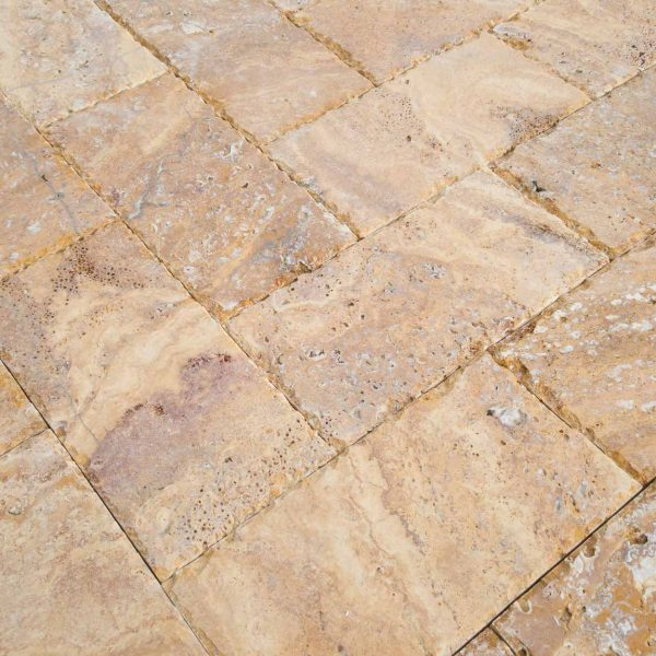 20020072-Meandros-Gold-Yellow-Travertine-Pavers-Honed-and-Chiseled-Close-view-www.mayausatile