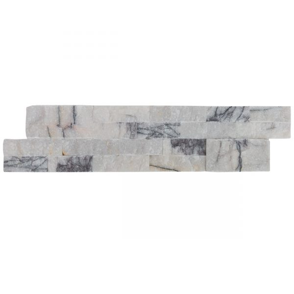 20012460-split-face-lilac-marble-stacked-stone-ledger-panel-6x24-single-view-model-b-www.mayausatile.com