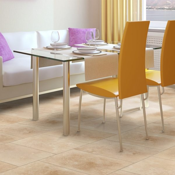 50071421-denizli beige travertine tile 12x12 honed and filled dining rooomwww.mayausatile.com