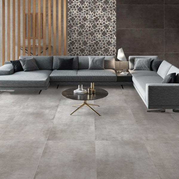 TUV5-ANK173-Tuval Glazed Porcelain Tile 24x24 Satin Grey sofa in the livingroom view